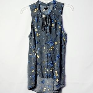 Free People sleeveless floral hi low button down S